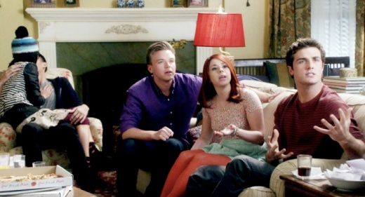 "Jake (Brett Davern), Tamara (Jillian Rose Reed), Ming (Jessica Lu) and Matty (Beau Mirchoff) Awkward episode ""A Little Conversation"" BFGFBFF"